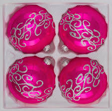 4 pcs glass balls set 3 15 inches ø in high gloss pink