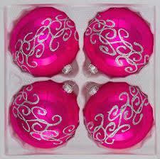 4 pcs glass balls set 3 15 inches ø in high gloss pink