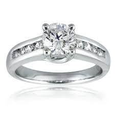 channel engagement ring mazal brilliant cut engagement ring with channel