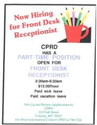 part time front desk jobs front desk job opening colstrip parks recreation district