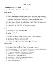 Substitute Teacher Job Description Resume by 20 Resume For Preschool Teacher Objective For Scholarship