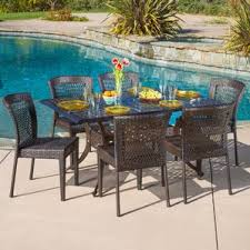 Outdoor Furniture Table by Six Person Patio Dining Sets You U0027ll Love Wayfair