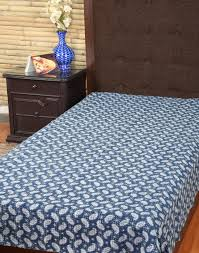 ethnic indian decorative bedding indigo cotton paisley printed