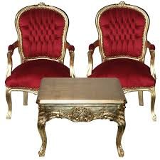 Baroque Coffee Table by Salon Ensemble Gold Coffee Table 2 Matching Chairs Deep Red