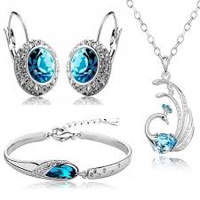 fashion jewellery necklace sets images Buy valentine gift by shining diva blue crystal combo jewellery of jpg