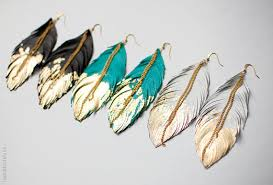 how to make feather earrings with feather earrings leather feather jewelry dipped in gold