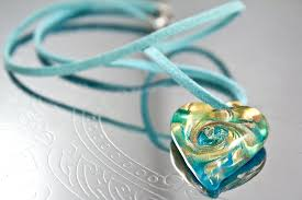 blue glass pendant necklace images Murano glass heart pendant necklace aqua monte nero jpg