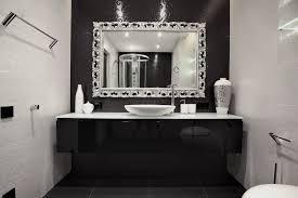 Silver Bathroom Vanities Carved Black Wooden Bath Vanity Using Black Marble Countertop