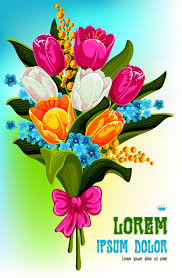 Beautiful Bouquet Of Flowers Beautiful Bouquet Of Tulips Vector Vector Flower Free Download
