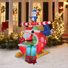 Blow Up Holiday Decorations Gemmy Airblown Inflatables Christmas Inflatable Santa And Penguin