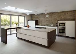 Beautiful Modern Kitchen Designs by Kitchen Brown Base Cabinets Brown Tile Flooring Stainless Wall
