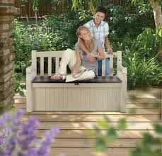 outdoor storage bench garden pool deck box weatherproof patio