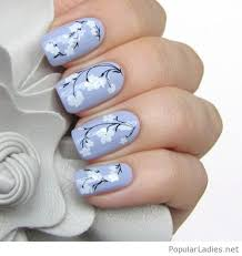 light purple nails with white flowers popularladies net