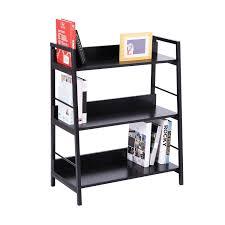 homcom leaning ladder bookshelf bookcase shelving wooden rack
