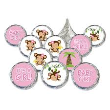 monkey baby shower stickers for hershey kisses set of 324