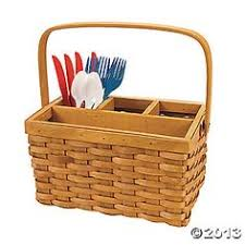 Silverware Caddy For Buffet by Wicker Fork Utensil Basket Organizer Napkin Holder Caddy Tote