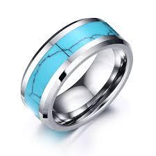 cincin tungsten carbide mens cincin tungsten carbide dengan pola retak biru alami batu