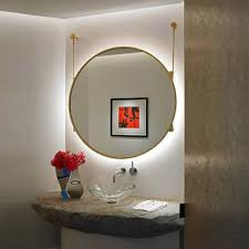 Wood Frames For Bathroom Mirrors - backlit wall mount large round mirror wood frame for bathroom