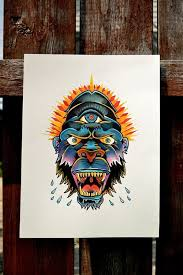 awesome colorful geometric style bull with indian feathers tattoo