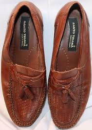 santo triana shoes santo triana brown leather made in brazil loafers embosed weave top