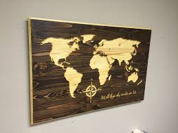 Modern Rustic Home Decor World Map Wall Art Not All Who Wander Are Lost Vintage Carved