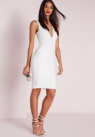 white bodycon dress plunge bandage bodycon dress white missguided