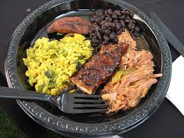 cuisine dinner dinner plate with black beans shredded beef chicken rice and