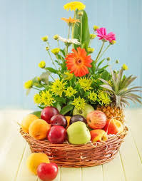 flowers and fruit flowers with mix fruit basket