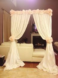 wedding backdrop on a budget altar arch made with backdrop stand cheap fabric and flowers