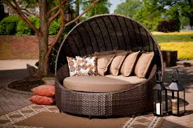 modern patio round bed turns simple outdoor space into an