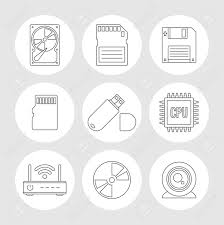 Storage Devices by Data Storage Outline Icons Memory Storage Devices Set Royalty