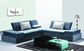 modern sectional sofa in blue chanille fabric