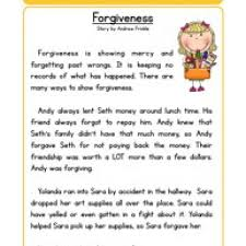 forgiveness character reading comprehension worksheet