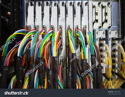 arrangement stack colorful electronic cable wire stock photo