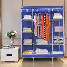 double portable modular metal framed fabric wardrobe clothes