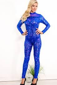 royal blue jumpsuit royal blue lace sequin accent back zipper jumpsuits jumpsuits