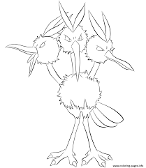 085 dodrio pokemon coloring pages printable