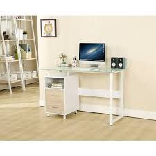 White X Desk by Ebs Glass Top And Gloss White Computer Office Home Desk
