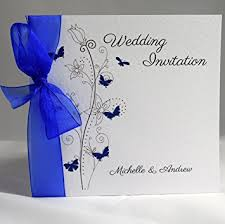 wedding invitations blue butterfly wedding invitations personalised with ribbon available in