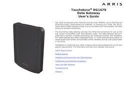 Modem Ds Light Blinking Arris Touchstone Dg1670 User S Guide