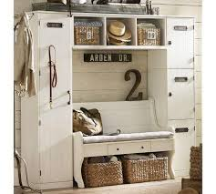 storage furniture locker entryway system with bench pottery