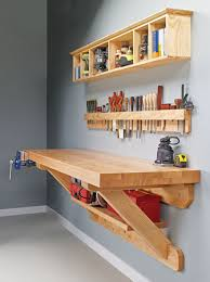 wall mounted workbench woodsmith plans shop organization