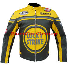 motorcycle racing jacket lucky strike 0113 cowhide real leather motorcycle motorbike biker