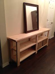 unfinished diy wood long console table with storage in the hallway