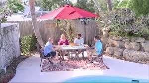 Qvc Outdoor Patio Solar Lights Atleisure 10 U0027 Starlight Solar Offset Umbrella W Remote On Qvc Youtube