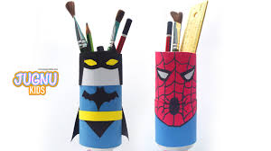 how to create spiderman and batman pencil stand craft videos for