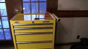 stanley tool chest cabinet stanley 27 inch 5 drawer tool cabinet chest in yellow youtube