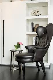 Antique Queen Anne Wing Back Chairs Furniture Grey Leather Leather Wingback Chair With Wood Legs For