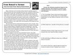 from nomad to farmer 5th grade reading comprehension worksheet