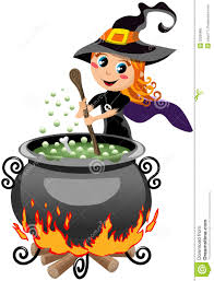 little cute halloween witch preparing potion royalty free stock